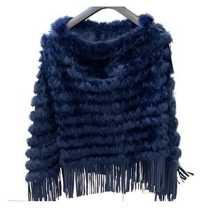 Navy rabbit fur cape with fringes! New w tags!